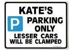 KATE'S Personalised Parking Sign Gift | Unique Car Present for Her |  Size Large - Metal faced